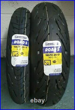 1 x 120/70 ZR17 & 1 x 180/55 ZR17 Michelin Pilot Road 5 PAIR TWO TYRES
