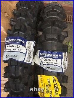 Metzeler Mid Soft Road Legal Enduro Tyres Pair 21 Front 19 (100) Rear 250F 125