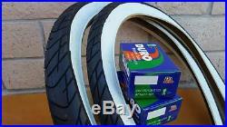 Two 24x2.125 Beach Cruiser WhiteWall Bicycle Tires & Inner tubes Road Chopper